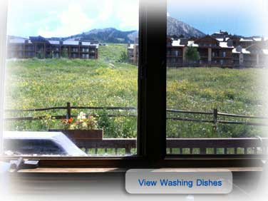 View from the sink at the Skihaus in Crested Butte CO