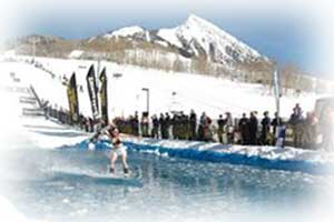 crested butte-water skiing at the end of the ski season in Crested Butte